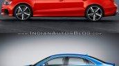 Audi RS 3 Sedan vs. Audi A3 Sedan profile
