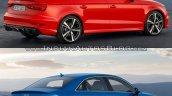 Audi RS 3 Sedan vs. Audi A3 Sedan rear three quarters right side