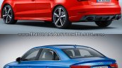 Audi RS 3 Sedan vs. Audi A3 Sedan rear three quarters