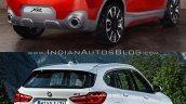 BMW X2 vs. BMW X1 rear three quarter image