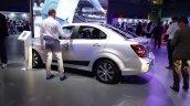 2017 Chevrolet Sonic Sedan rear three quarters at 2016 Bogota Auto Show second image