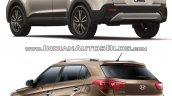 2017 Hyundai Creta vs. 2015 Hyundai Creta rear three quarter comparo