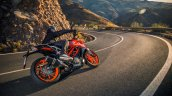 2017 KTM Duke 390 rear three quarters cornering