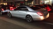 2017 Mercedes S-Class (facelift) silver rear three quarters spy shot