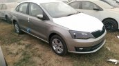 2017 Skoda Rapid brown front three quarter spied ahead of launch