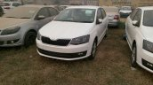 2017 Skoda Rapid white front quarter spied ahead of launch