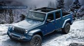 2018 Jeep Wrangler-based pickup blue front three quarters roof opened rendering