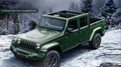 2018 Jeep Wrangler-based pickup green front three quarters rendering