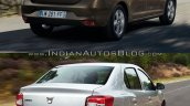 2017 Dacia Logan sedan vs 2012 Dacia Logan sedan rear quarter Old vs New