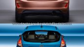 2017 Ford Fiesta vs 2013 Ford Fiesta rear Old vs New