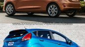 2017 Ford Fiesta vs 2013 Ford Fiesta rear three quarter Old vs New