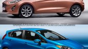 2017 Ford Fiesta vs 2013 Ford Fiesta front three quarter Old vs New
