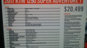 KTM 1290 Super Adventure T spec sheet at New York IMS