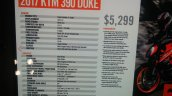KTM Duke 390 spec sheet at New York IMS live