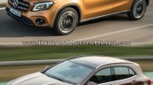 2017 Mercedes GLA vs. 2014 Mercedes GLA front three quarters left side in motion
