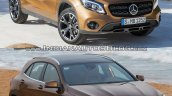 2017 Mercedes GLA vs. 2014 Mercedes GLA front three quarters right side standstill