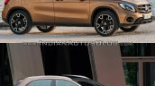 2017 Mercedes GLA vs. 2014 Mercedes GLA front three quarters right side