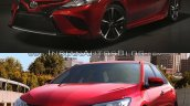 2018 Toyota Camry vs. 2015 Toyota Camry front three quarters left side