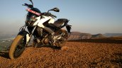 Bajaj Dominar 400 Moon White front three quarter profile