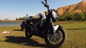 Bajaj Dominar 400 Moon White front three quarter
