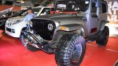 Mahindra Thar Daybreak Edition with solid roof front three quarters at Surat International Auto Expo 2017