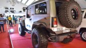 Mahindra Thar Daybreak Edition with solid roof rear three quarters at Surat International Auto Expo 2017