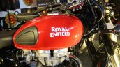 Royal Enfield Classic 350 Redditch series Redditch Red fuel tank side view at Surat International Auto Expo 2017
