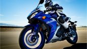 Yamaha R3 blue motion front three quarter left