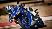 Yamaha R3 blue motion front three quarter