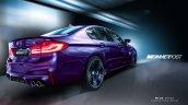 2018 BMW M5 rear three quarters rendering second image
