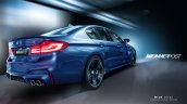 2018 BMW M5 rear three quarters rendering third image