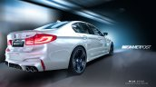 2018 BMW M5 rear three quarters rendering