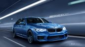 2018 BMW M5 without M mirrors and carbon-fibre roof front three quarters rendering