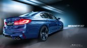 2018 BMW M5 without M mirrors and carbon-fibre roof rear three quarters rendering