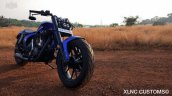 Royal Enfield Thunderbird Blue Evo by XLNC Customs front three quarter with headlamp