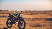 Yamaha RX100 Baby Blue by Ironic Engineering front three quarter
