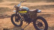 Yamaha RX100 Baby Blue by Ironic Engineering rear three quarter with pannier bag