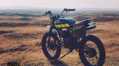 Yamaha RX100 Baby Blue by Ironic Engineering rear three quarter