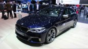 2017 BMW M550i front three quarter at the 2017 Geneva Motor Show Live