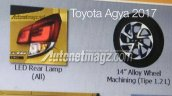2017 Toyota Agya TRD S (facelift) tail lamp and alloy wheel