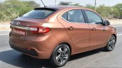 Tata Tigor petrol rear quarter dynamic First Drive Review