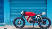 Yamaha RX100 modified as cafe racer by Ironic Engineering side view
