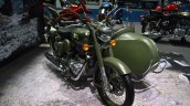 Royal Enfield Classic 500 Forest Green sidecar at BIMS 2017 front three quarter right