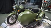 Royal Enfield Classic 500 sidecar Forest Green at BIMS 2017 front three quarter right