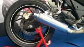TVS Apache RTR 200 track experience at MMRT rear wheel right
