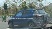 2017 Ford EcoSport (facelift) rear three quarter blue spied in India for the first time