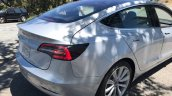 Tesla Model 3 rear three quarters spy shot
