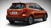 2017 (Maruti) Suzuki S-Cross rear three quarters right side studio image