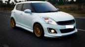 Custom Maruti Swift front three quarter gold alloy rims