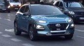 Hyundai Kona SUV blue spied front during TVC shoot in Spain